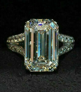 CZ Emerald & Round Cut Split Shank Engagement Band Ring 925 Sterling Silver