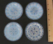 4 Antique 19thC Sandwich Flint Glass EAPG Opalescent 13-Heart Cup Plates
