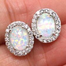 2 Ct White Australian Opal Stud Earrings Women Wedding Engagement Jewelry Gift