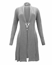 Ladies Women Knitted Boyfriend Crochet Long Cardigan Waterfall Brooch Dress Top