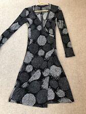 MarcCain Black White Wrap Dress N2 10 Jersey Ladies