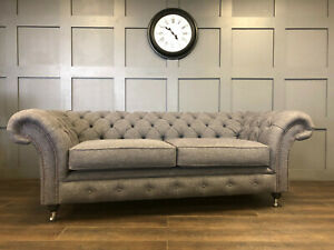 3 Seater Chesterfield Sofa Grey Fabric Handmade Couch Settee Living Room Lounge