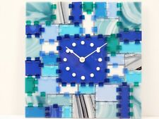 "Fused Glass Wall Clock ""Rectangular Fantasy - Morning Breeze"""