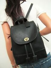 COACH Vintage Black Leather Drawstring Turnlock Backpack #9960