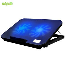 "14"" 15.6"" Laptop PC USB Cooling Cooler Adjustable Stand Pad 2 Fans LED Radiator"
