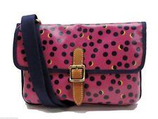 Fossil Key Per Mini Crossbody Handbag Fuchsia Pink Dot Coated Canvas Messenger