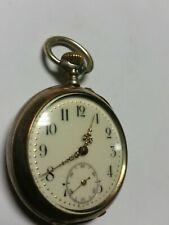 POCKET WATCH ANTIQUE SOLID SILVER 50 MM REMONTOIR CYLINDRE 10 RUBIS 1915 RUNNING