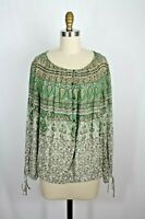 Lucky Brand Green Floral Boho Peasant Blouse Wrist Ties L New