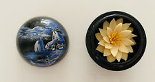 Hand Carved Soap Flowers in Black Decorative Hand Painted Wood Box