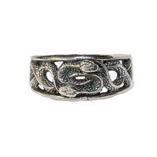 Entwined Snake Ring 925 solid silver Coiled Python Adder Biker Gothic feeanddave