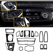Carbon Fiber Center Console Panel Stickers Kit Interior Trims For BMW 3 4 Series