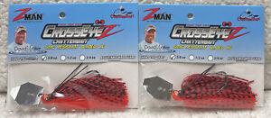 (2) Z-Man Crossyeyez ChatterBait 3/8oz Snag Resistant Fire Craw 49E