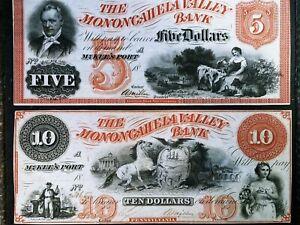 Lot of 2 1800'S Obsolete Monongahela Valley Bank notes. McKEES PORT Pennsylvania