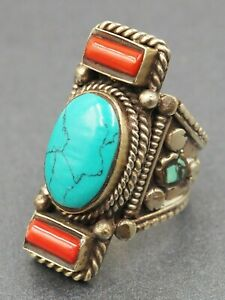 Navajo Turquoise & Red Coral Ring Sterling Silver Fine Statement Jewelry