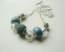 Collar Necklace Ice Blue Polymer Clay Rondelle Clear Glass Bead Silver  KCJ1805