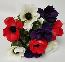ARTIFICIAL SILK FLOWERS ANEMONE BUSH RED WHITE AND PURPLE 9 HEADS