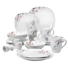 VEWEET ANNIE 20-Piece Dinnerware Set Porcelain White Plates Bowls Mugs Egg Cups