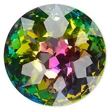 Glass Crystal Pendant Faceted Round Disc Vitrial 45mm PK1 *UK EBAY SHOP*