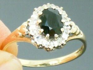 9ct Gold Sapphire & Diamond Hallmarked Vintage Cluster Ring size P