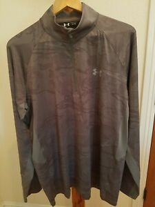 Under Armour Performance Fishing 1/4 Zip Sweatshirt XL Base Layer LS grey camo