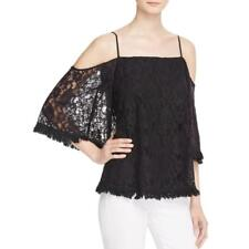 Bailey 44 6383 Womens Tusk Black Lace Fringe Hem Cold Shoulder Casual Top L BHFO
