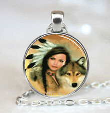 Vintage Cabochon Glass necklace women wolf jewelry Silver Charm pendants