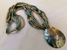 Green and gold Bohemian Wooden Bead Multistrand Mother Of Pearl Necklace