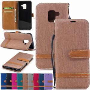For Samsung S21+A21S S20FE Note 20 A01 A11 A21 A31 Canvas Wallet Flip Case Cover