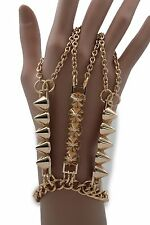 Women Gold Bracelet Metal Hand Chain Rings Long Spikes Punk S&M Fashion Jewelry