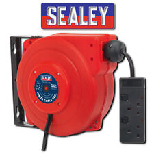 SEALEY CRM15 CABLE REEL SYSTEM RETRACTABLE 15M 2 X 230V SOCKET GARAGE EXTENSION