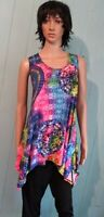 Sleeveless Rainbow Kaleidoscope Wrinkle Free Irregular Hem Tunic Top  L, XL
