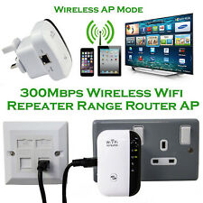 300Mbps WiFi Repeater UK Plug Wireless Router Range Extender WPS Signal Booster