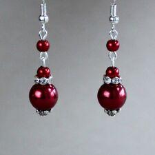 Wine red pearls silver drop dangle earrings wedding bridesmaid bridal accessory