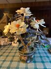 ANTIQUE CHINESE CLOISONNE PLANTER WITH JADE FLOWER TREE