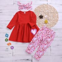 3PCS Toddler Kids Clothes Baby Girls Heart Dress Tops Pants Princess Outfit Set