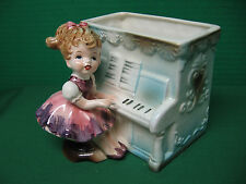 Vintage Relpo Planter # 6011 with Cute Little Girl Playing the Piano