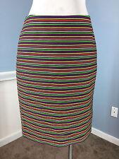 Talbots M 8 Multi color textured Stripe straight Pencil Skirt Career Cocktail *