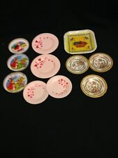 Lot Of 11 Vintage Child Tin Square Round Plates Doll Size