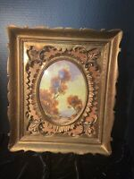 Ornate Italian carved gilt gold frame in frame convex glass signed oil art