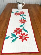 Christmas Holiday! Red Poinsettia Table QUILT Runner Applique Vintage 48 x 17