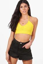 Boohoo Vanessa Crochet Knitted Bralet Yellow Size S LF086 BB 15