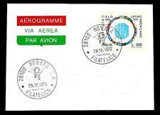 Italia Repubblica - Aerogramma 1976 - Ist. Latino Americano - annullo Novara
