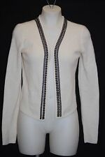 C by BLOOMINGDALE'S 100% Cashmere Winter White Chain Cardigan M $238 NWT