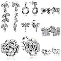 Customized New 925 Silver Ear Stud Zircon Earrings Lady Elegant Fashion Jewelry