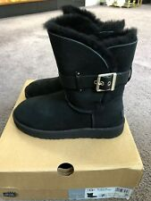 UGG Jaylyn Black Suede Fur Cuff Buckle Ankle / Short Boots Size US 7 Womens