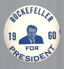 1960 bl/wh ROCKEFELLER FOR PRESIDENT PICTURE CAMPAIGN BUTTON