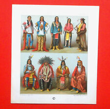 Costume Historique: AMERIQUE XIXe INDIENS, Repro.Lithographie Nordmann