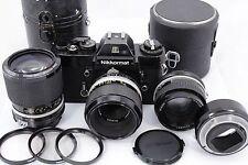 black Nikkormat EL vintage camera & 3x lens, Nikkor 1,8/50, Zoom 43-86mm, Micro