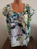 Calvin Klein Women's M Medium Short Sleeve Summer Blouse Shirt Top Blue Green