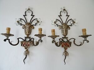 ~Maison Baguès Red Signed Crystal Flowers Sconces, Wrought Iron circa 1900~